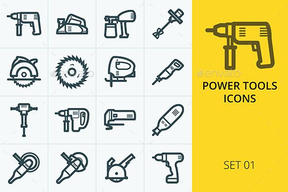 Power Tools Icons Set - Web Icons