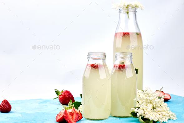 Kombucha tea with elderflower and strawberry - Stock Photo - Images