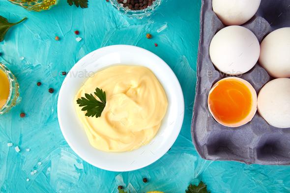 Homemade sauce Mayonnaise - Stock Photo - Images