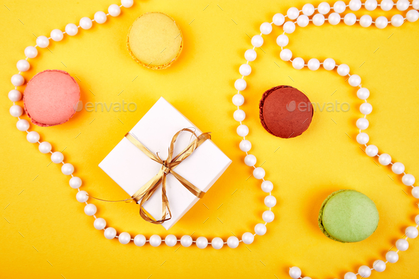 Sweet Dessert macaroon, gifts - Stock Photo - Images