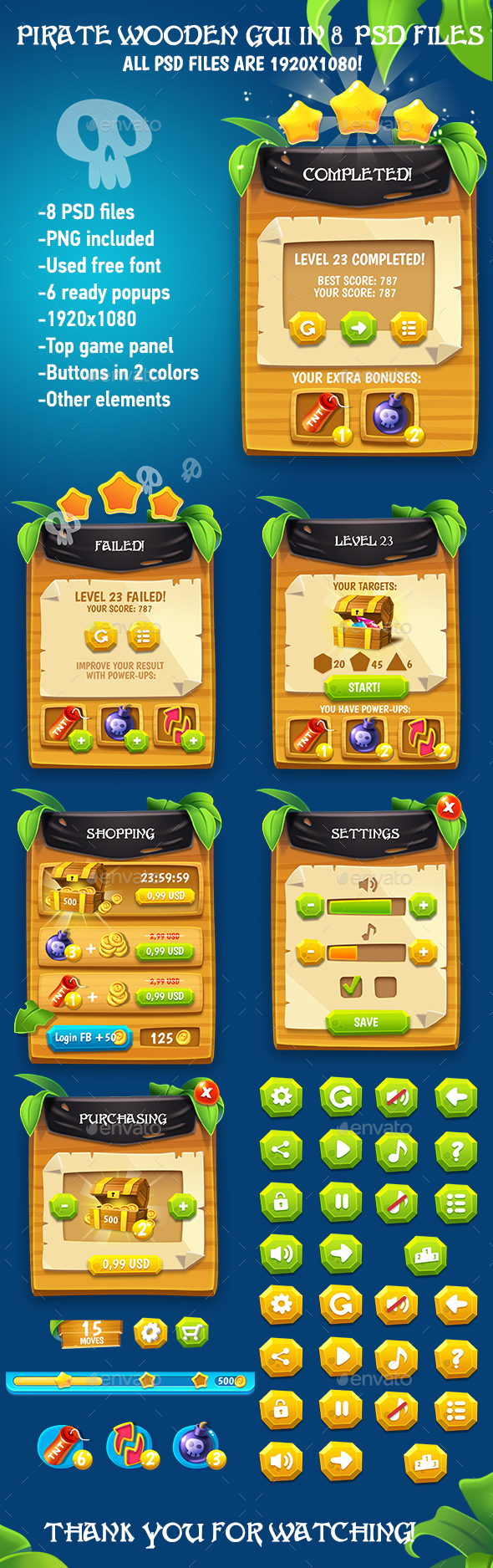 Wooden Pirate GUI Pack - User Interfaces Game Assets