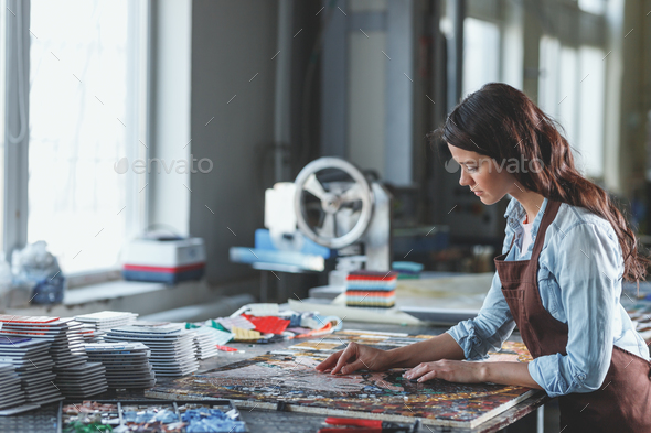 Young girl with mosaic - Stock Photo - Images
