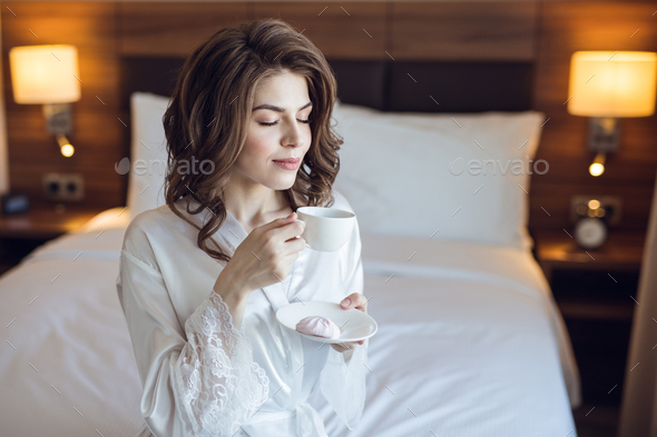 Attractive young girl in the hotel - Stock Photo - Images