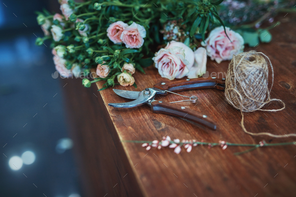Beautiful flowers and garden tools - Stock Photo - Images