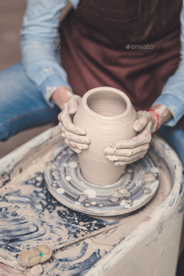 Young master at the potter's wheel - Stock Photo - Images
