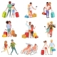 People Traveling Set, Family Couple with Luggage