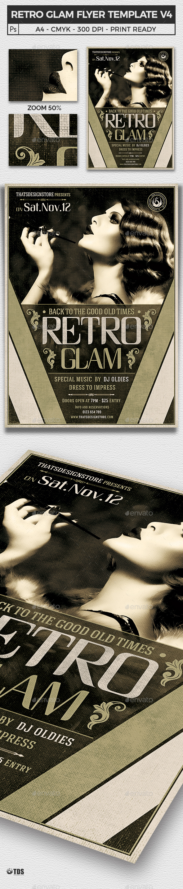 Retro Glam Flyer Template V4 - Clubs & Parties Events