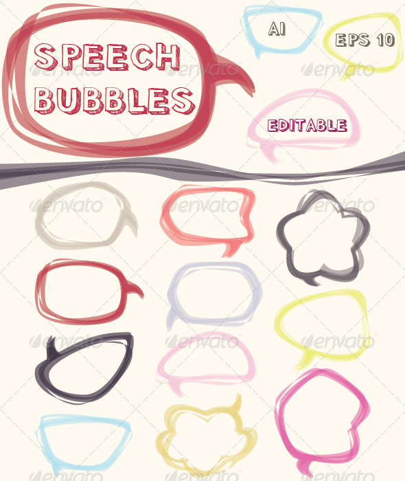 Colorful Speech Bubbles Set - Decorative Symbols Decorative
