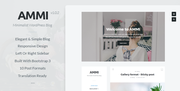 Ammi – Minimalist WordPress Blog Free Download
