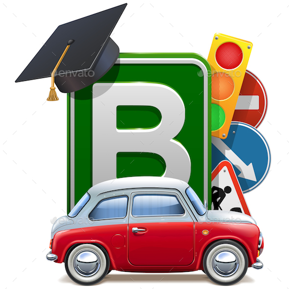 Vector Driving School Concept with Automobile - Miscellaneous Vectors