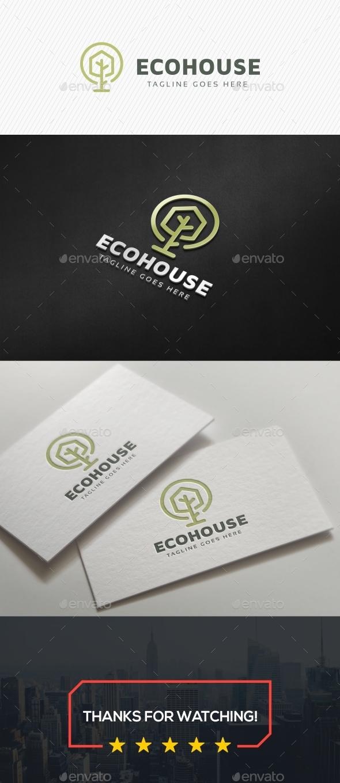 Green Eco House Logo - Buildings Logo Templates