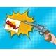 Pistol with White Flag Comic Book Pop Art Vector