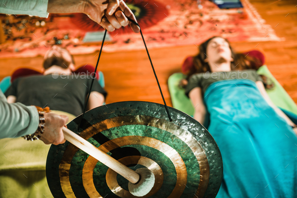 Gong in sound therapy - Stock Photo - Images