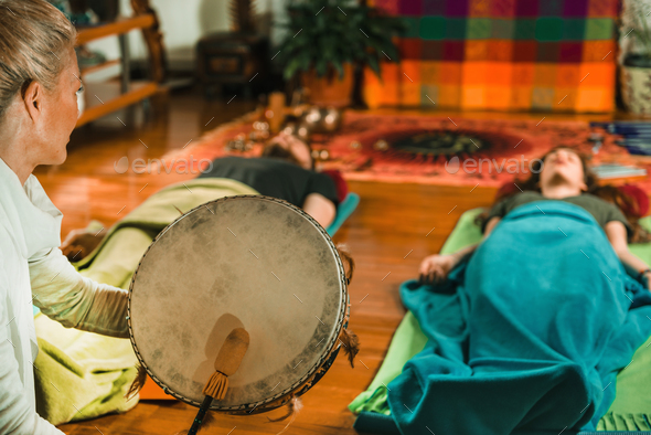 Indian drum in sound therapy - Stock Photo - Images