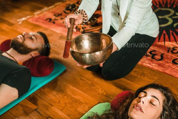 Tibetan singing bowl - Stock Photo - Images