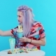Girl Taking Pictures of Her Freakshake and Taking Selfies - VideoHive Item for Sale