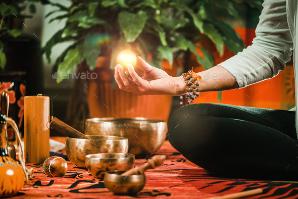 Meditation Ball in sound therapy - Stock Photo - Images