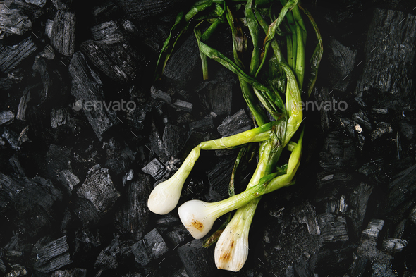 Grilled vegetables on charcoal - Stock Photo - Images