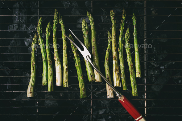 Grilled asparagus on charcoal - Stock Photo - Images