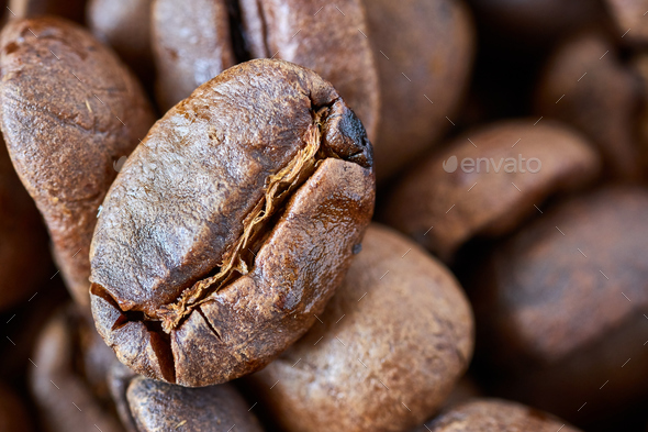 Close up picture of freshly roasted coffee beans. - Stock Photo - Images
