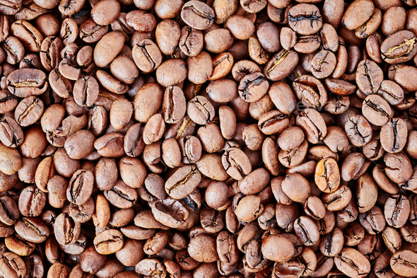Freshly roasted coffee beans background - Stock Photo - Images