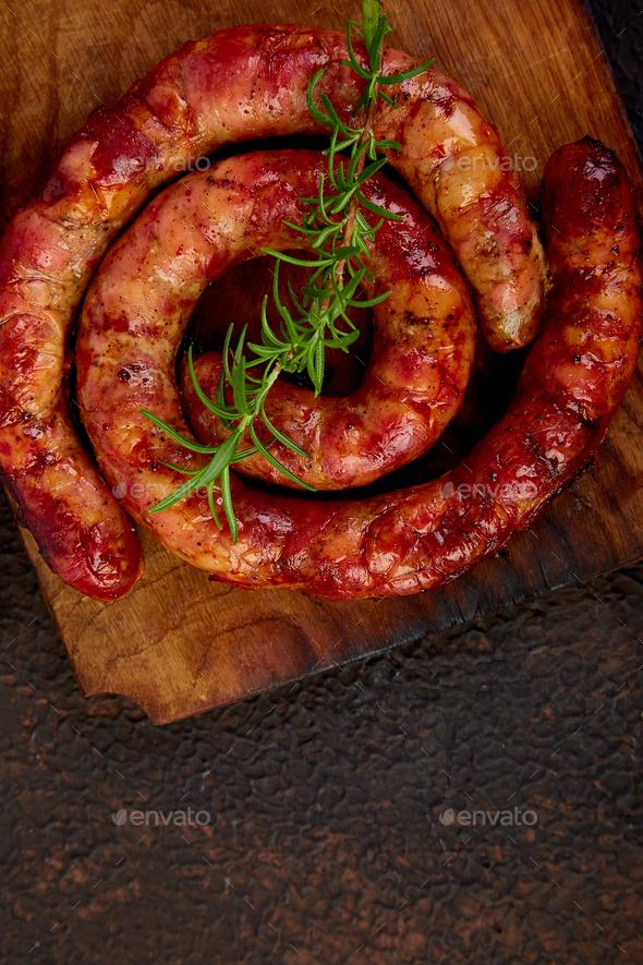 Grilled  or Roasted spiral pork sausages - Stock Photo - Images