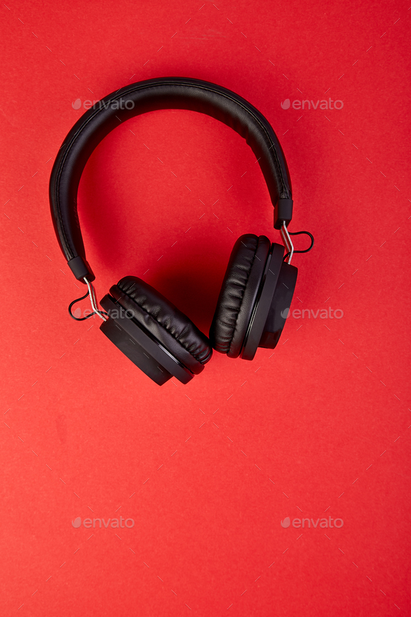 Black Headphones. Flatl lay - Stock Photo - Images