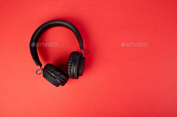 Black Headphones. Flatl lay - Stock Photo - Images