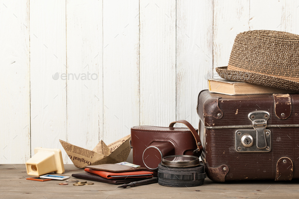 Summer vacation and travel retro style background - Stock Photo - Images