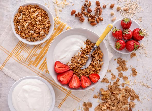 Crunchy granola or muesl - Stock Photo - Images