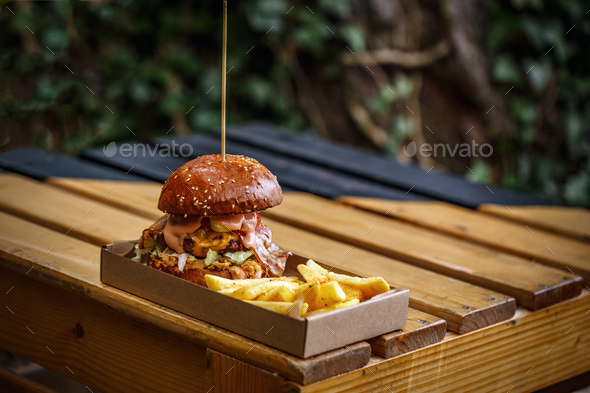 Grilled beef burger - Stock Photo - Images