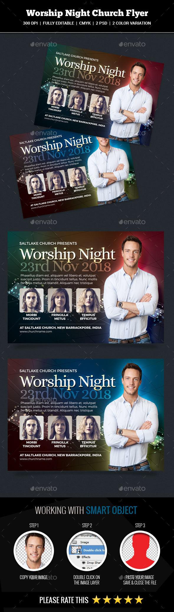 Worship Night Church Flyer - Church Flyers