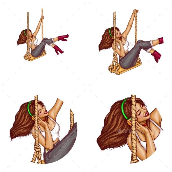 Vector Girl on Swing in Headphones Avatar - People Characters