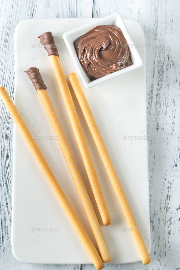 Breadsticks with chocolate cream - Stock Photo - Images