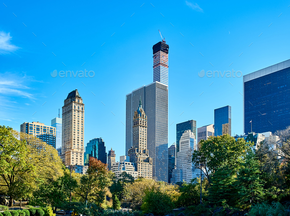 New York view from Central Park - Stock Photo - Images