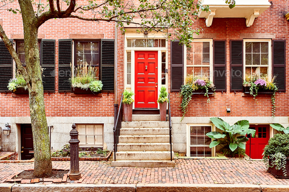 Street at Beacon Hill neighborhood, Boston - Stock Photo - Images