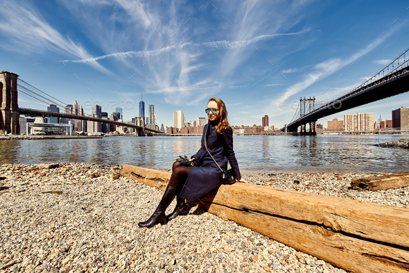 Woman in Brooklyn, New York City - Stock Photo - Images