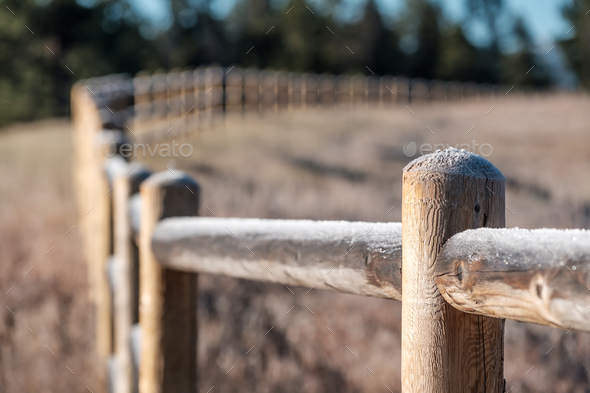 Hoarfrost on the fence - Stock Photo - Images