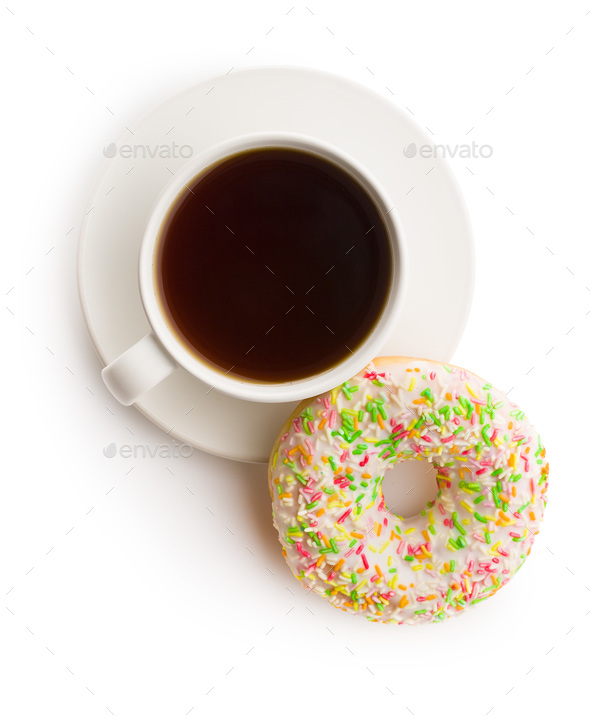 Sweet donut and cup of tea. - Stock Photo - Images