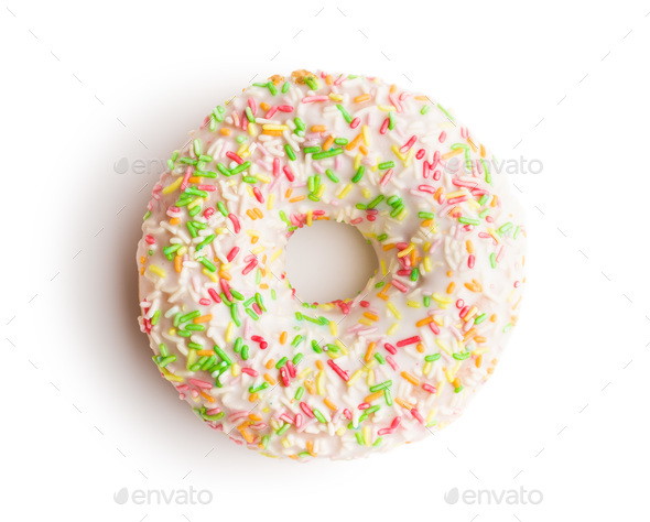 Sweet sprinkled donut. - Stock Photo - Images
