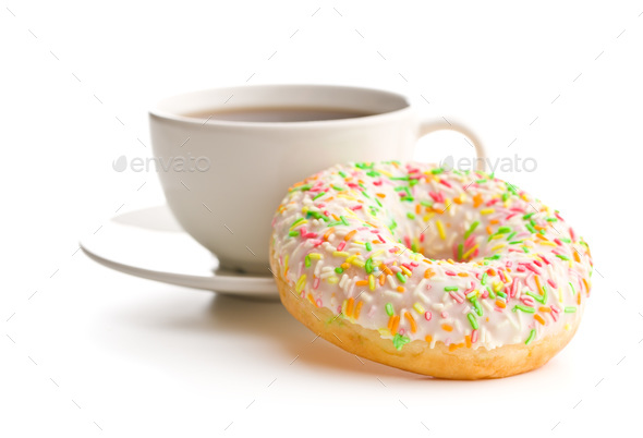 Sweet donut and coffee cup. - Stock Photo - Images