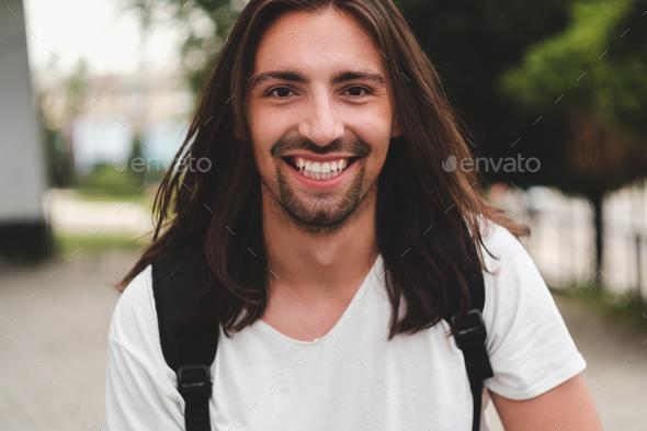Portrait happy man smiling - Stock Photo - Images