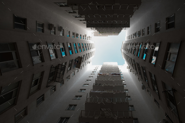 Large angle shot of rising architecture into sky - Stock Photo - Images