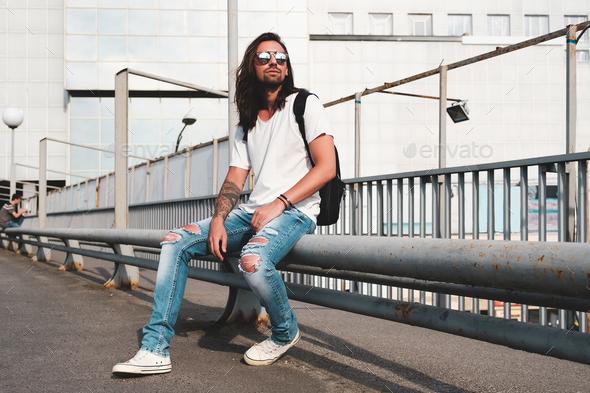 Stylish man with sunglasses and beard - Stock Photo - Images