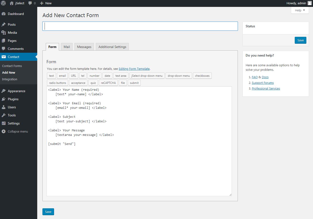 Contact Form 7 – jSelect dropdown menu