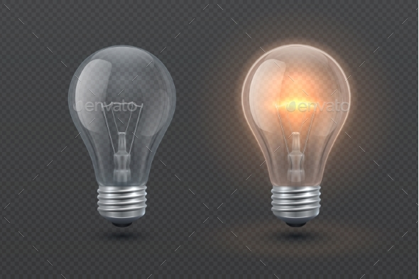 Realistic Glowing Electric Light Bulb Isolated   Man Made Objects Objects