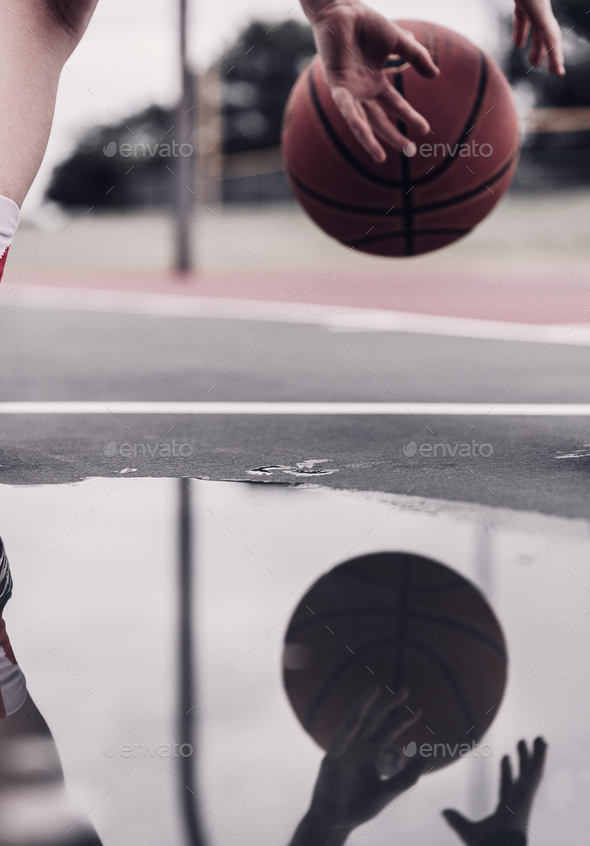Dribbling a Basketball - Stock Photo - Images