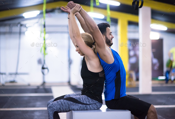 athletes working out their arms - Stock Photo - Images