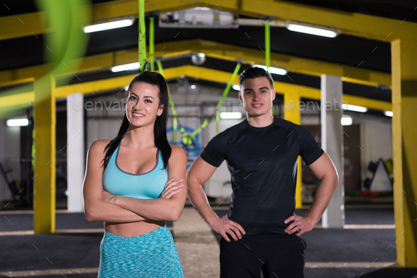 portrait of athletes at cross fitness gym - Stock Photo - Images