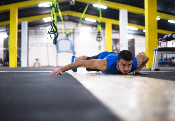 Young  man doing pushups - Stock Photo - Images